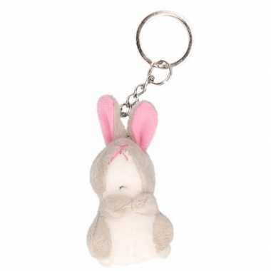 Pluche konijn/haas knuffel sleutelhanger 6 cm