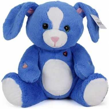 Pluche konijn knuffel blauw 30 cm