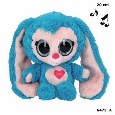 Pluche konijn knuffel met geluid 20 cm
