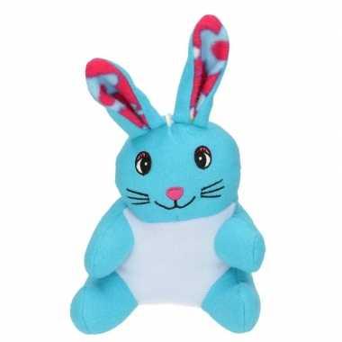 Pluche konijn/paashaas knuffel blauw 23 cm