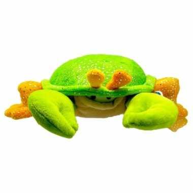 Pluche krab knuffel groen/oranje 23 cm