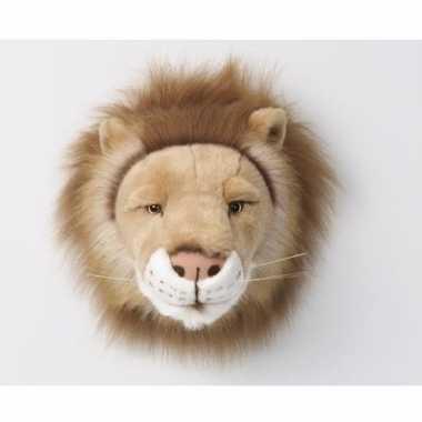 Pluche leeuw dierenhoofd knuffel 28 cm muurdecoratie