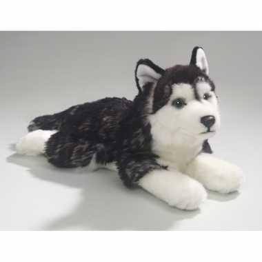 Pluche liggende husky honden knuffel 32 cm