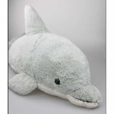 Pluche mega dolfijn knuffel grijs 78 cm