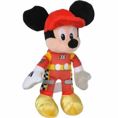 Pluche mickey mouse auto race knuffel 17 cm