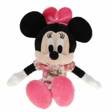 Pluche minnie mouse knuffel 30 cm roze met bloemen jurkje