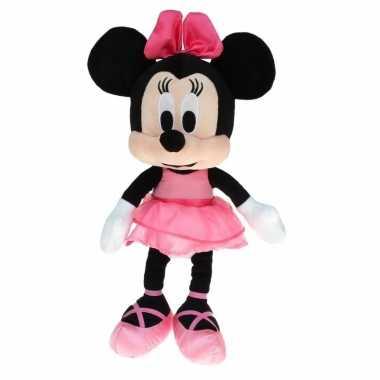 Pluche minnie mouse knuffel ballerina met roze jurk 40 cm