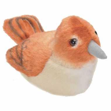 Pluche nachtegaal knuffel vogel met geluid 13 cm speelgoed