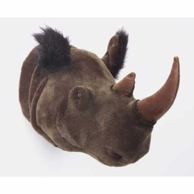 Pluche neushoorn dierenhoofd knuffel 30 cm muurdecoratie