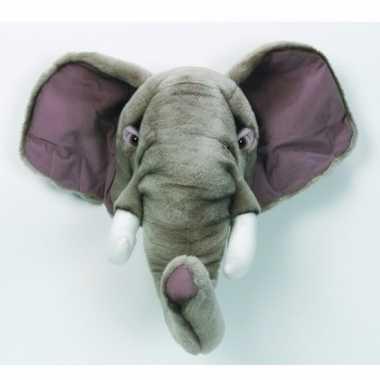 Pluche olifant dierenhoofd knuffel 45 cm muurdecoratie