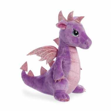 Pluche paarse draak/draken knuffel 30 cm