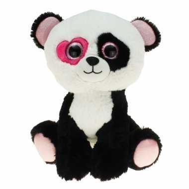 Pluche pandabeer knuffel zittend met hartje 30 cm