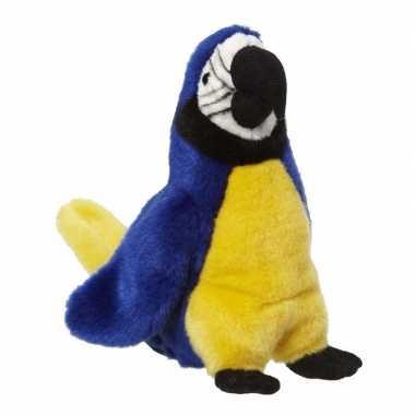 Pluche papegaai knuffel blauw 26 cm