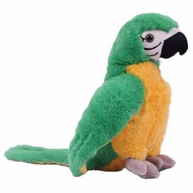 Pluche papegaai knuffel groen 24 cm