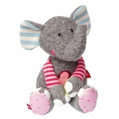 Pluche patchwork grijs/roze olifant knuffel 31 cm