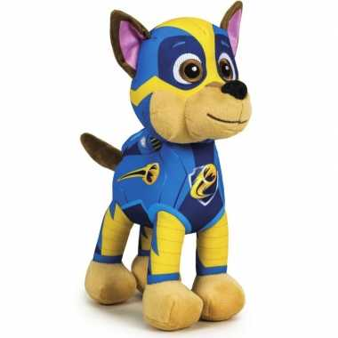 Pluche paw patrol chase mighty pups knuffel 27 cm speelgoed