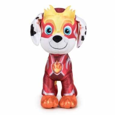 Pluche paw patrol marshall mighty pups super paws knuffel 27 cm