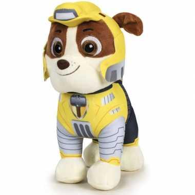 Pluche paw patrol rubble mighty pups knuffel 27 cm speelgoed