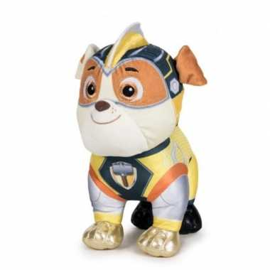 Pluche paw patrol rubble mighty pups super paws knuffel 27 cm