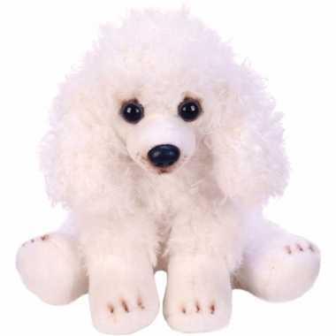 Pluche poedel knuffel hond wit 12 cm