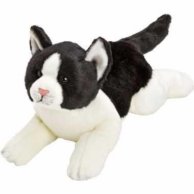 Pluche poes/kat knuffel liggend zwart/wit 33 cm
