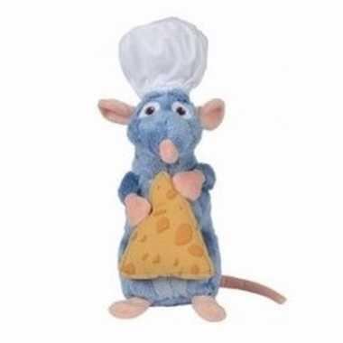 Pluche rat knuffel remy ratatouille met kaasje 25 cm
