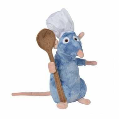 Pluche rat knuffel remy ratatouille met lepel 25 cm