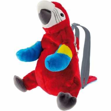 Pluche rode ara papegaai vogel rugtas/rugzak knuffel 32 cm