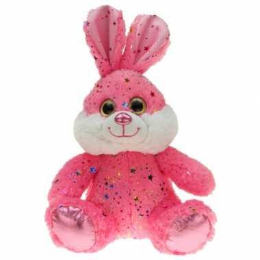 Pluche roze paashaas/hazen knuffel met sterretjes 25 cm