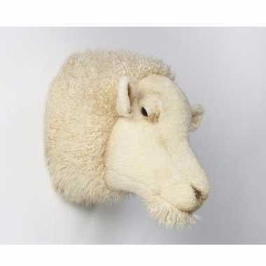 Pluche schaap dierenhoofd knuffel 30 cm muurdecoratie