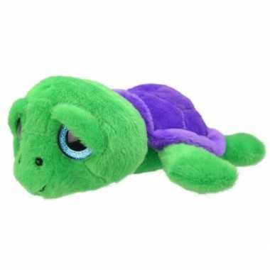 Pluche schildpad knuffel groen/paars 24 cm