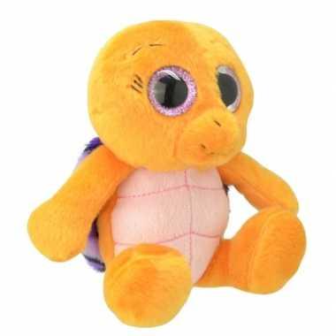 Pluche schildpad knuffel oranje/paars 30 cm