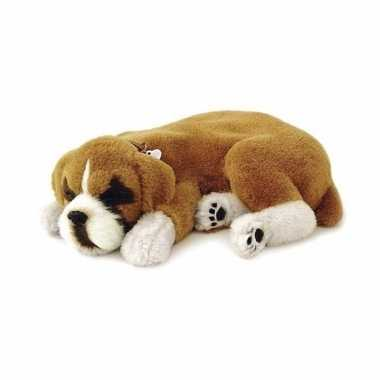 Pluche slapende boxer honden knuffel