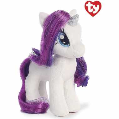 Pluche ty beanie my little pony knuffel rarity wit/paars 41 cm speelg