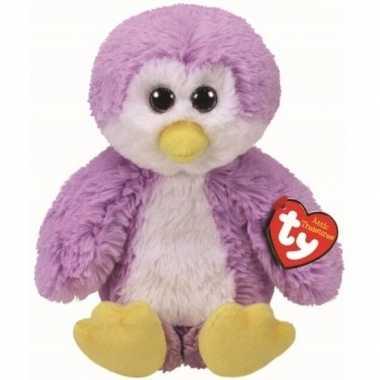 Pluche ty beanie paarse pinguin knuffel gordon 20 cm