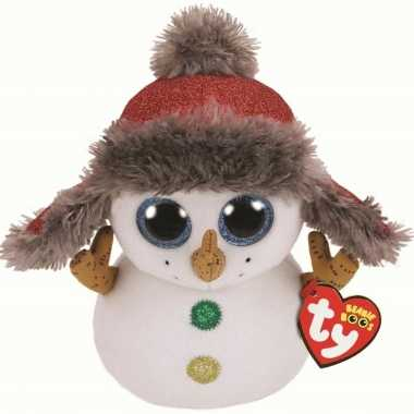 Pluche ty beanie witte sneeuwpop knuffel buttons 24 cm