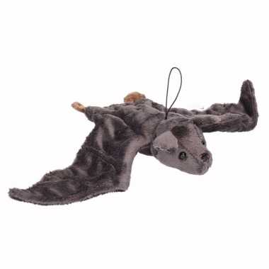 Pluche vliegende vleermuis knuffel grijs 36 cm