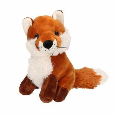 Pluche vos knuffel zittend 20 cm