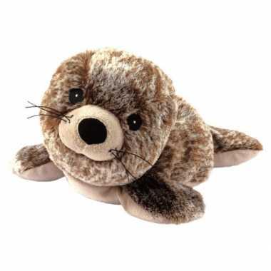 Pluche warmte knuffel zeehond bruin