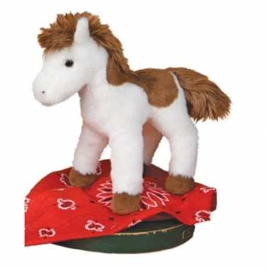 Pluche wit/bruine paarden knuffel 20 cm speelgoed