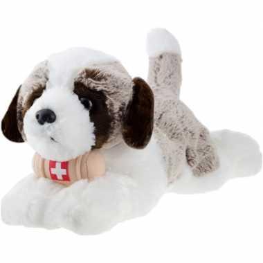 Pluche wit/bruine sint bernard hond knuffel 32 cm speelgoed
