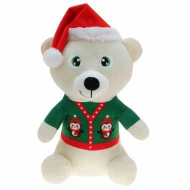 Pluche witte beer knuffel 30 cm kerstknuffels
