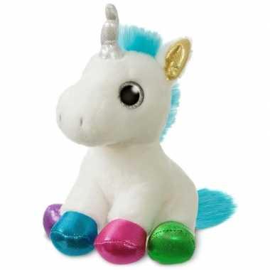 Pluche witte eenhoorn knuffel 18 cm speelgoed