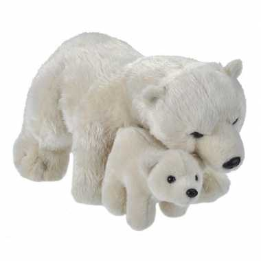 Pluche witte ijsbeer met baby/ijsberen knuffels 38 cm speelgoed
