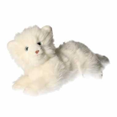 Pluche witte katten knuffel 25 cm