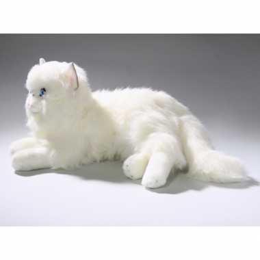 Pluche witte katten knuffel 35 cm