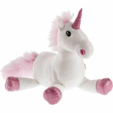 Pluche witte/roze eenhoorn knuffel 38 cm speelgoed