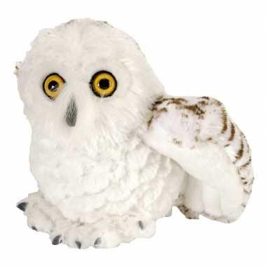 Pluche witte sneeuwuil knuffel vogel 15 cm speelgoed