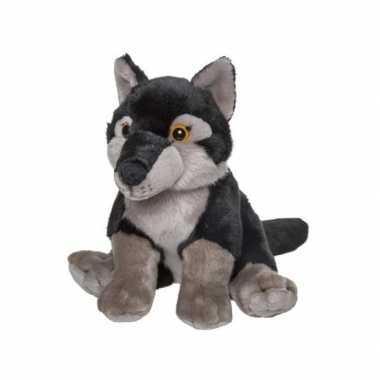 Pluche wolf knuffel zwart 24 cm