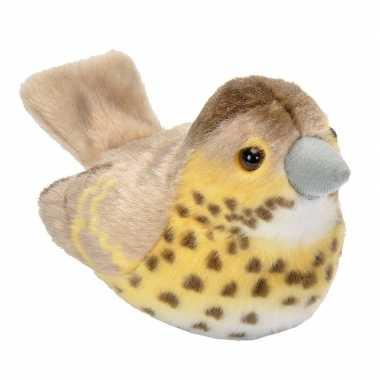 Pluche zanglijster knuffel vogel met geluid 13 cm speelgoed